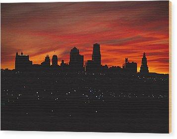 The Sun Rises Over The Skyline Wood Print by Stephen Alvarez