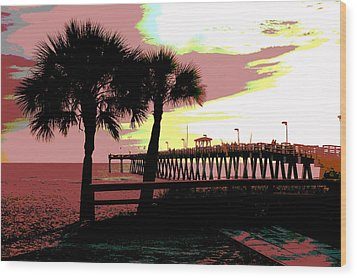 Wood Print featuring the mixed media The Sunset by Charles Shoup