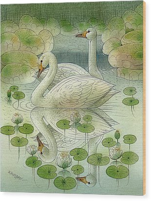 the Swans Wood Print by Kestutis Kasparavicius
