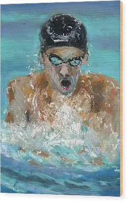 The Swimmer Wood Print by Paul Mitchell
