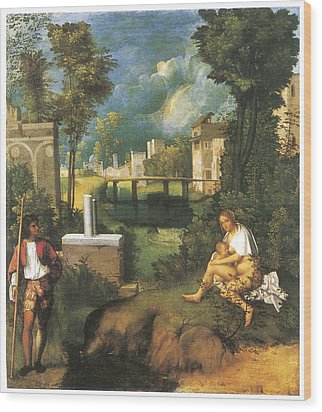 The Tempest Wood Print by Giorgione