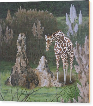 Wood Print featuring the painting The Termite Mounds by Sandra Chase