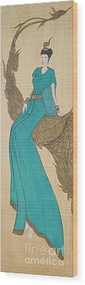 The Thai Traditional Contemporary Drawing Fairy Tale On Wood Wood Print by Ittipon Kongsua