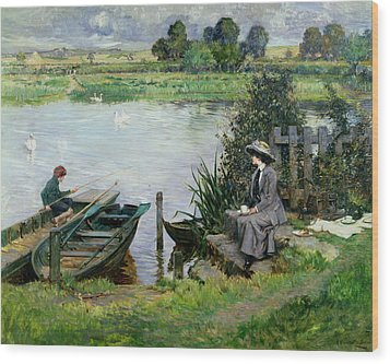 The Thames At Benson Wood Print by Albert Chevallier Tayler