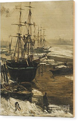 The Thames In Ice Wood Print by Pg Reproductions