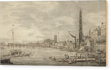The Thames Looking Towards Westminster From Near York Water Gate  Wood Print by Giovanni Antonio Canaletto