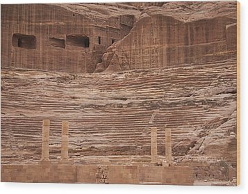 The Theater Carved Out Of A Rock Wall Wood Print by Taylor S. Kennedy