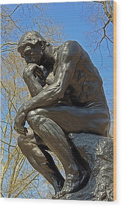 The Thinker By Rodin Wood Print by Lisa Phillips