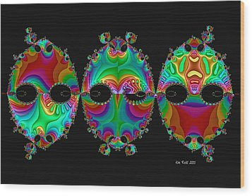 Wood Print featuring the digital art The Three Amigos by Kim Redd