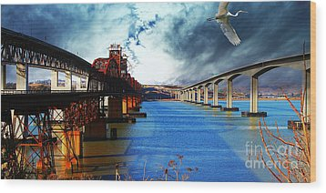 Wood Print featuring the photograph The Three Benicia-martinez Bridges . A Journey Through Time by Wingsdomain Art and Photography