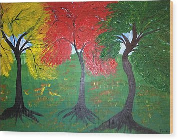The Three Colours Of Maple Trees Wood Print by Pretchill Smith