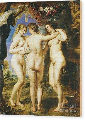 The Three Graces Wood Print by Pg Reproductions