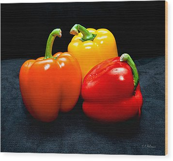 The Three Peppers Wood Print by Christopher Holmes