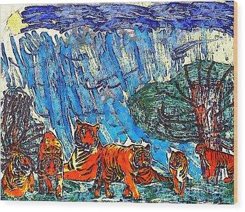 The Tigers Wood Print by Odon Czintos