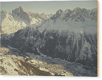 The Tourist Resort Of Chamonix Sits Wood Print by Nicole Duplaix
