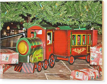 Wood Print featuring the photograph The Toy Train by Ann Murphy