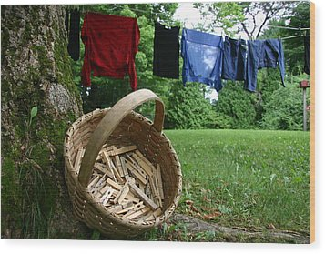 The Traditional Approach To Washday Wood Print by Stephen St. John