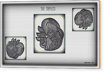 Wood Print featuring the drawing The Triplets by Danielle  Parent