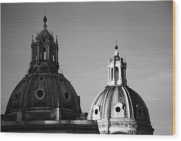 The Twin Domes Of S. Maria Di Loreto And Ss. Nome Di Maria Wood Print by Fabrizio Troiani