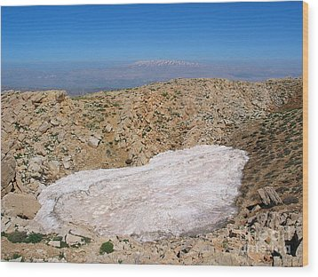 the un melted snow in Sannir mountains  Wood Print by Issam Hajjar