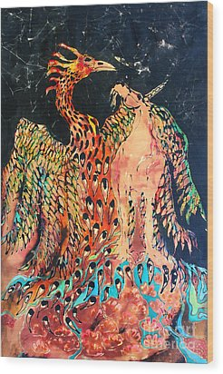 The Unicorn And Phoenix Rise From The Earth Wood Print by Carol Law Conklin