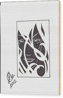 Wood Print featuring the drawing The Unkown Woman by Jeremiah Colley