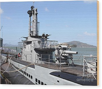 The Uss Pampanito Submarine At Fishermans Wharf With Alcatraz In The Distance.san Francisco.7d14420 Wood Print by Wingsdomain Art and Photography