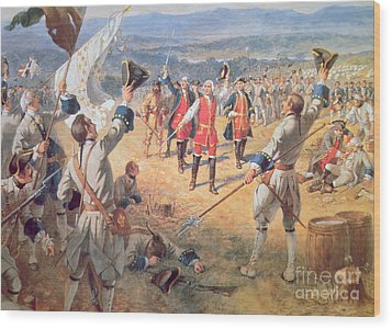 The Victory Of Montcalms Troops At Carillon Wood Print by Henry Alexander Ogden