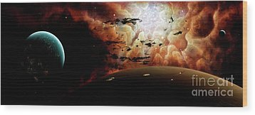 The View From A Busy Planetary System Wood Print by Brian Christensen