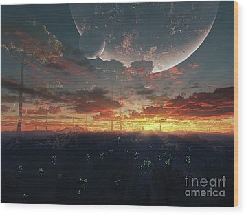 The View From An Alien Moon Towards Wood Print by Brian Christensen