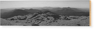 The View North From Mt. Marcy Black And White Three Wood Print