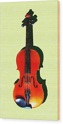 The Violin . Light Version . Painterly Wood Print by Wingsdomain Art and Photography