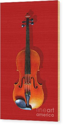 The Violin . Red Version . Painterly Wood Print by Wingsdomain Art and Photography