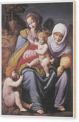 The Virgin And Child Wood Print by Bachiacca