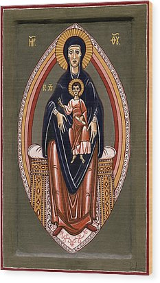 Wood Print featuring the painting The Virgin And Child In Majesty by Raffaella Lunelli