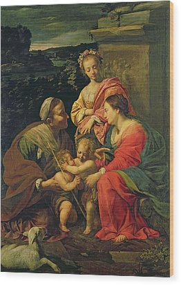 The Virgin And Child With Saints Wood Print by Simon Vouet