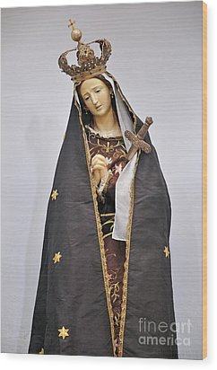 The Virgin Mary Statue In Church Wood Print by Sami Sarkis