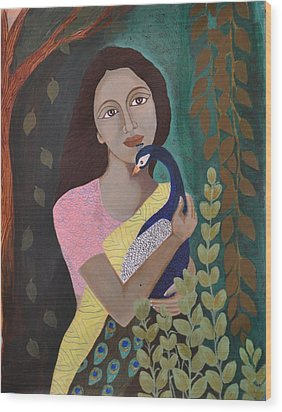The Wait Wood Print by Kavitha Harikumar