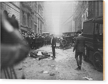 The Wall Street Bombing. A Man Stands Wood Print by Everett