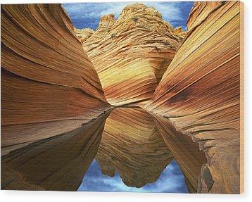 The Wave Reflection Wood Print by Joe  Palermo