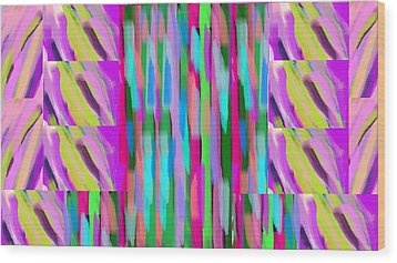 The Waves Violet Turquoise Pink Green Wood Print by Rosana Ortiz