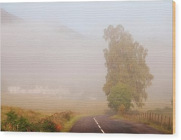 The Way To Never Never Land. Misty Roads Of Scotland Wood Print by Jenny Rainbow