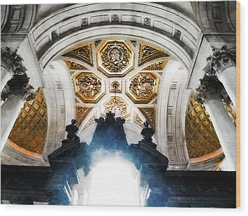 The West Doorway Of St Paul's Cathedral Wood Print by Steve Taylor