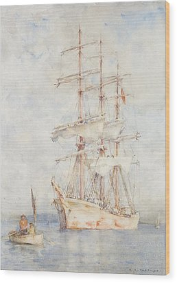 The White Ship Wood Print by Henry Scott Tuke