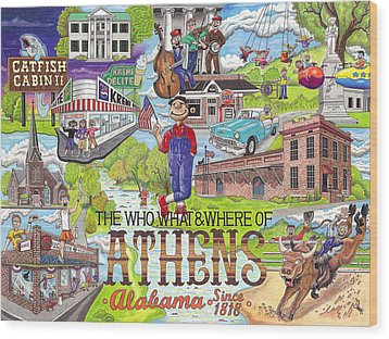 The Who What And Where Of Athens Alabama Wood Print by Shawn Doughty
