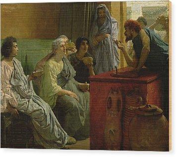 The Wine Shop Wood Print by Sir Lawrence Alma-Tadema