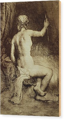 The Woman With The Arrow Wood Print by Rembrandt Harmensz van Rijn