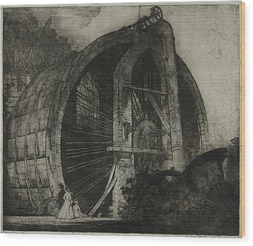 The Worlds Largest Water Wheel Powered Wood Print by Everett
