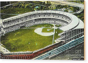 The Yankees' Polo Grounds In New York City In The 1920's Wood Print by Dwight Goss