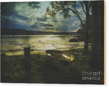 The Yellow Boat Wood Print by Avalon Fine Art Photography